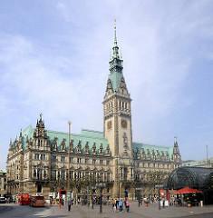 Rathaus Hamburg - Architektur der Hansestadt - Architekturstil des Historismus in der Hansestadt.