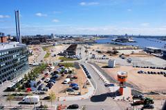 Bilder aus der Hamburger Hafencity - Luftaufnahme von Hamburgs größter Baustelle; Blick zur Norderelbe und dem Baakenhafen (2007)
