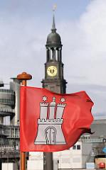 Hamburg Fahne; roter Grund und weisse Burg - Kirchturm der Hamburger St. Michaeliskirche.