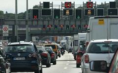 Schilder Einfahrt zum Elbtunnel bei Hamburg Othmarschen - Stau auf der Autobahn - stehende Autos