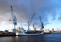 Hamburger Stadtteile - Kleiner Grasbrook - Hafen Hamburgs - Suedwesthafen, Frachtschiff und Kräne am Kamerunkai.
