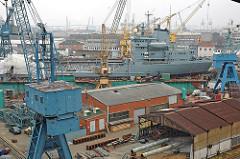 Blick über die Werftanlage der Hamburger Norderwerft am Reiherstieg von Steinwerder.