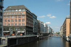 Blick in das Alsterfleet von der Graskellerbrücke. Links die Rückseite der Geschäftshäuser am Neuen Wall.