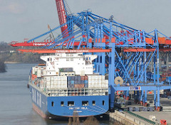 Blick auf das HHLA Container Terminal Burchardkai - das Container Vessel CMA CGM VELA liegt unter den Containerbrücken.