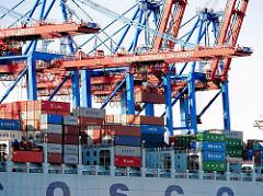 Die Containerladung eines Frachters wird im Hamburger Hafen über Containerbrücken am Europakai des HHLA Terminals Tollerort gelöscht.