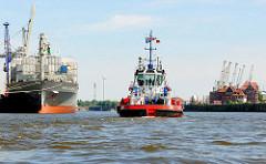 Schlepper im Hansahafen - Containerfrachter am O`swaldkai - Fotos aus dem Hamburger Stadtteil Kleiner Grasbrook.