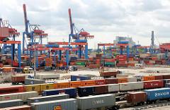 Blick über das Terminalgelände vom Hamburg Altenwerder - im Vordergrund mit Containern beladene Güterzüge; dahinter die Beladung der Lastkraftwagen und das Containerlager mit den Portalkranpaaren - zwei der Containerbrücken.
