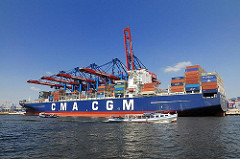 Hafen Hamburg - Containerschiff im Waltershofer Hafen, HHLA Terminal