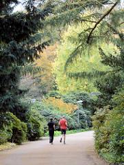 JoggerIn auf einem Weg zwischen Bäumen und Sträuchern im Stadtpark von Hamburg Winterhude.