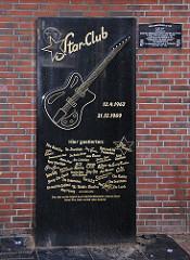 Erinnerungstafel an den Star-Club - Hamburg St. Pauli, Große Freiheit.