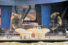 Heck mit Steuerruder und Antriebschrauben eines Fährschiffs in einem Trockendock im Hamburger Hafen.