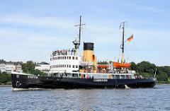 Der Eisbrecher STETTIN auf der Elbe - der Dampf-Eisbrecher wurde 1933 in Dienst gestellt. Das Arbeitsschiff wurde 1983 asl technisches Kulturdenkmal unter Denkmalschutz gestellt und liegt im Museumshafen Oevelgönne.