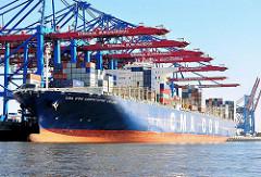 Bild der CMA CGM Christophe Colomb im Hafen Hamburgs - der Frachter liegt unter den Containerbrücken des HHLA Terminals Burchardkai.