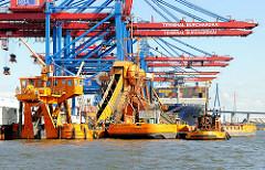 Hafenbagger ODIN im Hamburger Hafen - der Bagger vertieft das Hafenbecken des Waltershofer Hafens im Hamburg.