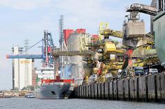 Verladeanlagen für Schüttgut am Kai des Reiherstieghafens; ein Massengutfrachter liegt am Kai - ein Verladerohr hängt über dem Laderaum des Frachters.