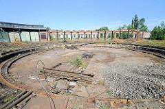 Ehem. Drehscheibe Bahnanlage Hamburg Wilhelmsburg - stillgelegt nach der Inbetriebnahme des Rangierbahnhofs Maschen um 1980.