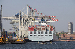 Stadtteil Hamburg Steinwerder - Hamburgs Hafengebiet - Heck eines Containerschiffs - Hamburg Altona auf der anderen Seite der Elbe.
