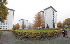 Wohnsiedlung in der Katzbachstrasse - Hochhäuser in Hamburg Lurup.