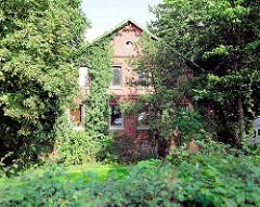 Bäuerliche Ziegelarchitektur - Hausfassade mit Rankpflanzen bewachsen - Bilder aus Hamburg Gut Moor.