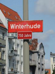 Stadtteilschild Winterhude - 750 Jahre.