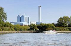 Blick von der Norderelbe auf den Deich von Kaltehofe in Hamburg Rothenburgsort - im Hintergrund die Industriearchitektur vom Heizkraftwerk in Billbrook.