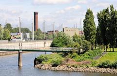 Blick von den Norderelbbrücken auf den Elbpark Entenwerder in Hamburg Rothenburgsort. Eine Fussgängerbrücke führt über den Haken, einem ehem. Hafenbecken zum Elbpark - im HIntergrund die Netze der Golfanlage und der historische Wasserturm.
