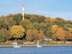 Oberfeuer / Leuchtturm zwischen Herbstbäumen an der Elbe in Hamburg Blankenese / Nienstedten; Segelboote im Wind am Ufer der Elbe.