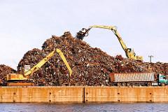Hohe Schrotthaufen am Rosskai des Rosskanals in Hamburg Steinwerder - ein Laster hat seine Ladung abgeliefert; ein Kran schichtet das Altmetall auf.