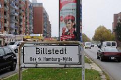 Schild Stadtteilgrenze Billstedt Bezirk Hamburg Mitte.