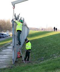 Ein Teilstück des Zollzauns wird von Arbeitern mit einem Kran gesichert - im Hintergrund Spaziergänger auf dem Deich des Hamburger Spreehafens.