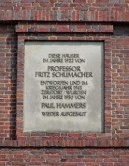 Erinnerungstafel an Professor Fritz Schumacher - Kriegszerstörung + Wiederaufbau Dulsberg Habichtplatz