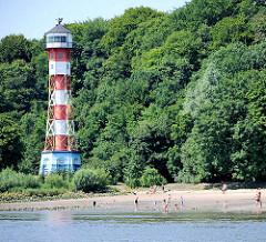 Leuchtturm und Badestrand an der Elbe von Wittenbergen - Fotos aus dem Hamburger Stadtteil Rissen.