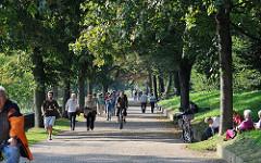 Elbwanderweg entlang der Elbe Höhe Nienstedten - Fussgänger, Fahrradfahrer teilen sich den Weg.