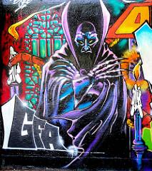 Graffiti an einer Hauswand - Geschäftszentrum Winfriedweg Hamburg Lokstedt. Bilder aus den Stadtteilen Hamburgs.