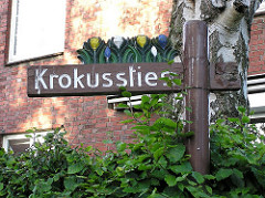 Stadtteil Alsterdorf Strassenschild in der Gartenstadt
