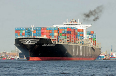 Der Containerfrachter Hanjin United Kingdom verlässt mit Containern beladen den Hamburger Hafen - das Frachtschiff hat eine Länge von knapp 350m und kann 9954 TEU Container transportieren.