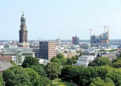 Blick über die Dächer der Hamburger Neustadt und der St. Michaeliskirche. Rechts die Baustelle der Elbphilharmonie in der Hamburger Hafencity.