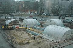 Hamburger Altstadt Domplatz Ausgrabungen Domplatz Ausgrabungsstätte Schutzzelte Helms Museum