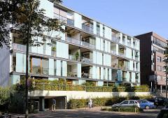 Moderne Architektur - neue Wohnhäuser am Lehmweg, Falkenriedareal - Bezirk HH-Nord, Hoheluft Ost.