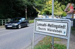 Schild Lemsahl-Mellingstedt, Bezirk Wandsbek.