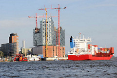 Feederschiff NAVI Baltic mit Containern auf der Fahrt zum Hansahafen - Baustelle der Elbphilharmonie mit Baukränen - Bürogebäude am Kehrwieder in der Hamburger Hafencity.