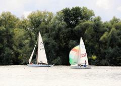 Segelschiffe auf der Dove Elbe; Segelsport in Hamburg - Bilder aus dem Stadtteil Ochsenwerder.