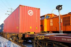 Gütereisenbahn - Hafenbahn mit Containerladung in Hamburg Steinwerder; Fotos aus dem Hamburger Hafen.