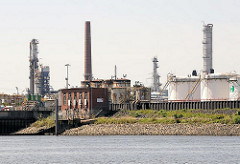 Industrieanlagen, Schornsteine und Tanks einer Erdölraffinerie in Hamburg Harburg.