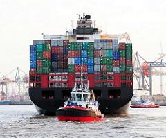 Schiffsheck mit Containern des Containerschiffs HATTA im Hamburger Hafen / Waltershofer Hafen.