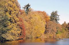 Herbstbäume am Ufer des Poppenbüttler Schleusenteichs - das Laub der Eichen und Buchen sind herbstlich gefärbt.