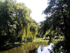 Lauf des Flusses Wandse durch den Hamburger Stadtteil Wandsbek - Bäume stehen am Ufer des Flusses.