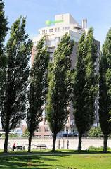 Zwischen hohen Pappeln sind Ruhebänke für die BesucherInnen des Elbparks in Hamburg Rothenburgsort aufgestellt. Hinter den Bäumen das Hochhaus des Hotels HolidyInn.