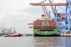 Das Containerschiff CSCL EUROPE im Hamburger Hafen - das Schiff wird von Hafenschleppern vom Kai gezogen.