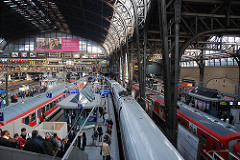 Hamburger Hauptbahnhof - Fahrgäste fahren die Rolltreppe zu den Bahnsteigen hinunter - Züge stehen auf den Gleisen. Kuppelkonstruktion des 1906 erbauten Bahnhofs.